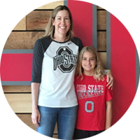 IGS employee and daughter in Ohio State gear