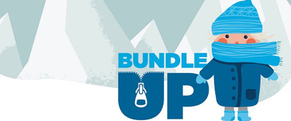 Bundle up graphic of a child in coat, hat and gloves
