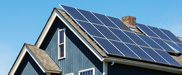 Roof with residential solar panels