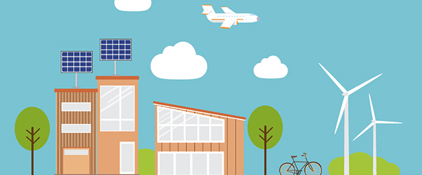 Drawing of homes with solar panels on roof
