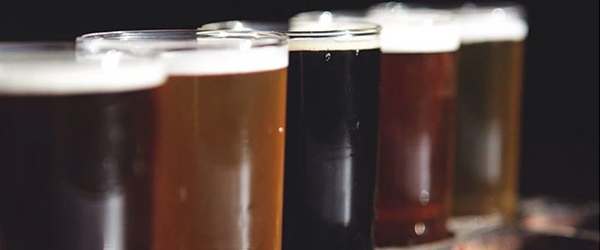 Close up of a flight of beer