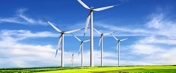 Huge Windmill Field With Blue Sky