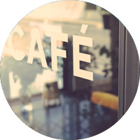 Circular image of a cafe door