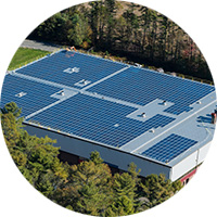 Circular image of large-scale rooftop solar