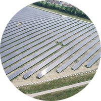 Circular image of commercial solar installation
