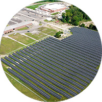 Long lens view of commercial solar array