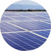 Image of commercial solar array inside a circle