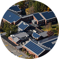 Overhead shot of university buildings with solar panels