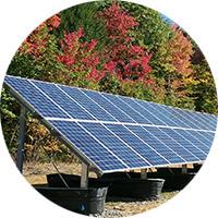 Circular image of ground mounted solar panel