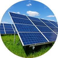 Ground-mounted solar in circular image