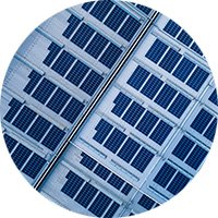 Overhead image of commercial solar panels