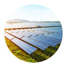 Circular image of commercial solar farm