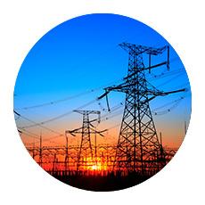 Circular image of electrical tower