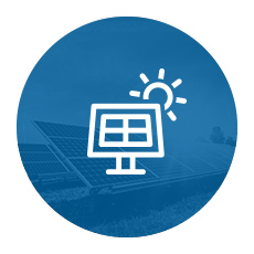 Solar panel icon on blue circular background