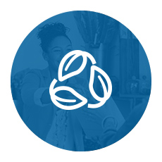 Intertwined leaves icon over blue background