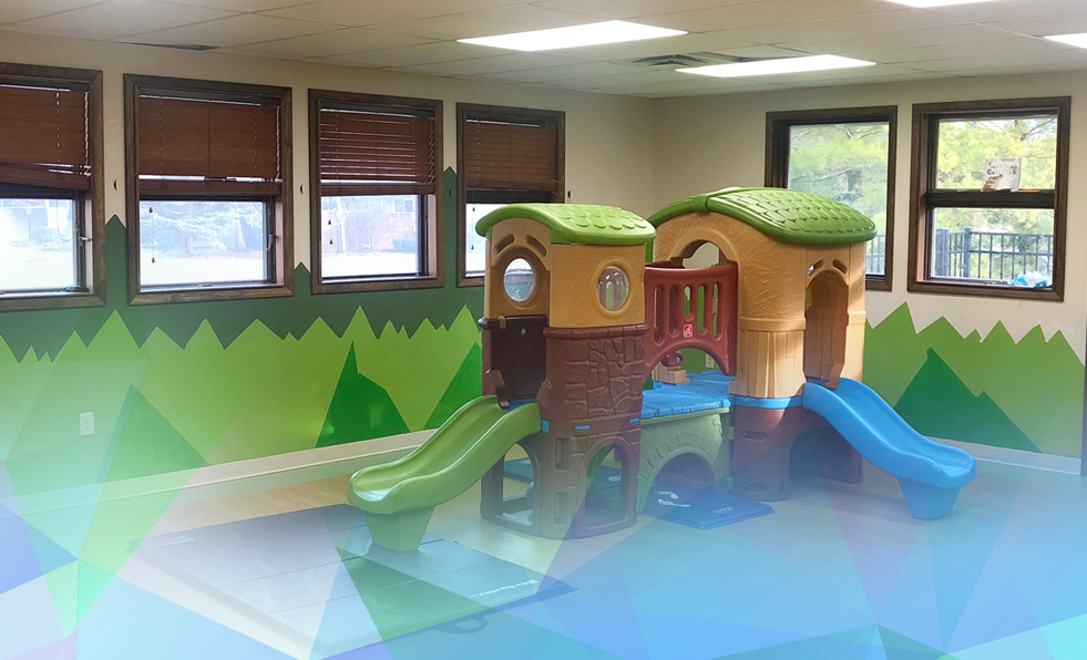 Background shot of daycare center with LED lights