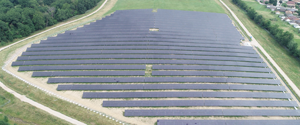 Overhead shot of large solar farm
