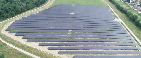 Overhead shot of large solar farm