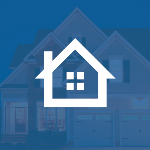 Home warranty logo over image of house exterior